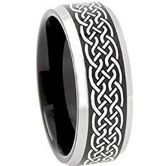 COI Tungsten Carbide Celtic Beveled Edges Ring-TG3651AA