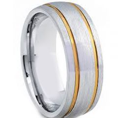 COI Gold Tone Tungsten Carbide Double Grooves Ring-TG3672