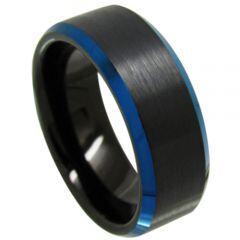 COI Tungsten Carbide Black Blue Beveled Edges Ring-3718