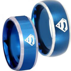 COI Tungsten Carbide SuperMan Beveled Edges Ring-TG3811