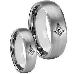 COI Tungsten Carbide Masonic Beveled Edges Ring-TG3750CC