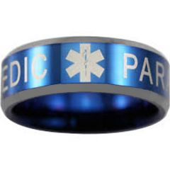 COI Tungsten Carbide Medic Alert Beveled Edges Ring-TG4550