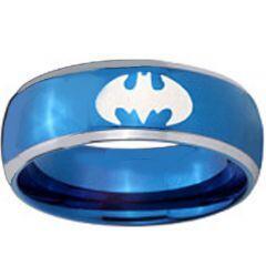 COI Blue Tungsten Carbide Batman Beveled Edges Ring-TG3812