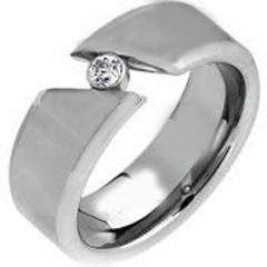 *COI Tungsten Carbide Solitaire Ring With Cubic Zirconia-TG1460A