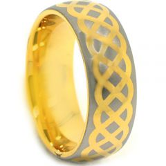 COI Gold Tone Tungsten Carbide Celtic Dome Court Ring-TG3876CC