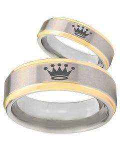 COI Gold Tone Tungsten Carbide King Crown Ring-TG3920BB