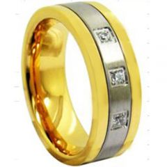 *COI Tungsten Carbide Gold Tone Silver Cubic Zirconia Ring-TG3943