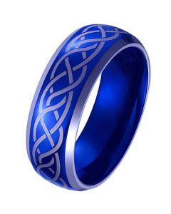 *COI Tungsten Carbide Blue Silver Celtic Beveled Edges Ring-TG4100