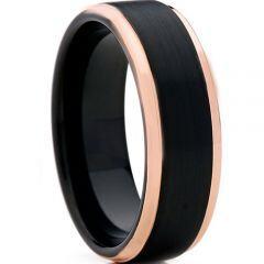 COI Tungsten Carbide Black Rose Step Edges Ring-TG4102
