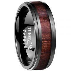 COI Black Tungsten Carbide Wood Step Edges Ring-TG4170B