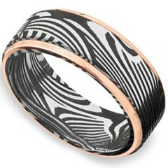 *COI Tungsten Carbide Black Rose Damascus Step Edges Ring-TG4171C