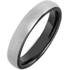 *COI Tungsten Carbide Black Silver Dome Court Ring - TG4175