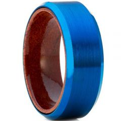 COI Blue Tungsten Carbide Wood Beveled Edges Ring-TG4178AA