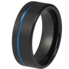 COI Tungsten Carbide Black Blue Offset Groove Ring-TG4196AA