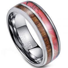 COI Tungsten Carbide Camo & Wood Dome Court Ring-TG4274