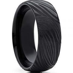 *COI Black Tungsten Carbide Damascus Dome Court Ring-TG4281B