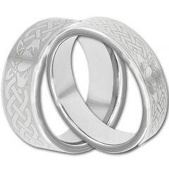 COI Tungsten Carbide Mo Anam Cara Celtic Step Edges Ring-TG4292