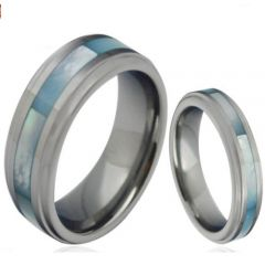 COI Tungsten Carbide Abalone Shell Step Edges Ring-TG4307