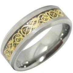 COI Tungsten Carbide Gold Tone Dragon Beveled Edges Ring-TG4310