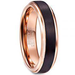 COI Tungsten Carbide Black Rose Step Edges Ring-TG4341AA