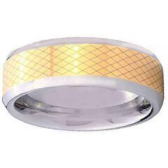 COI Gold Tone Tungsten Carbide Laser Pattern Ring-TG4344