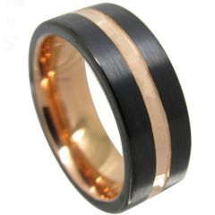 COI Tungsten Carbide Black Rose Center Groove Ring-TG4347