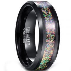 COI Black Tungsten Carbide Crushed Opal Beveled Edges Ring-4352