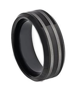 COI Black Tungsten Carbide Double Lines Beveled Edge Ring-TG4380