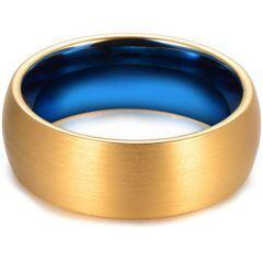 COI Tungsten Carbide Blue Gold Tone Dome Court Ring-TG4398