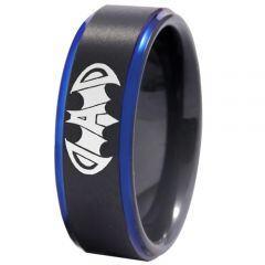 COI Tungsten Carbide Black Blue Super Dad Bat Ring-4409