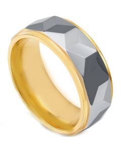 *COI Tungsten Carbide Gold Tone Silver Faceted Ring-TG4444