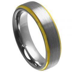 COI Gold Tone Tungsten Carbide Step Edges Ring - TG4457