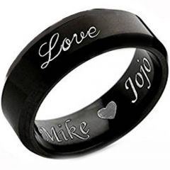 COI Black Tungsten Carbide Love Ring With Custom Engraving - TG4529