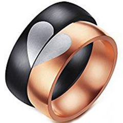 *COI Tungsten Carbide Black/Rose Heart Dome Court Ring-TG4547