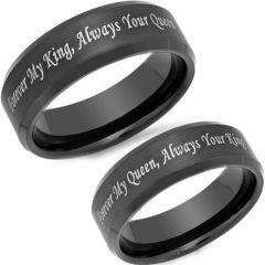 *COI Black Tungsten Carbide King Queen Beveled Edges Ring-TG4580