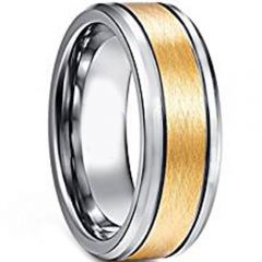 COI Gold Tone Tungsten Carbide Double Grooves Ring-TG4605AA