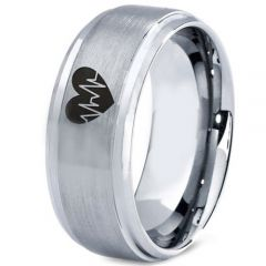COI Tungsten Carbide Heartbeat & Heart Step Edges Ring-TG4620CC