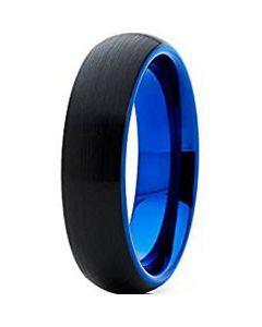 *COI Tungsten Carbide Black Blue Dome Court Ring-TG4637