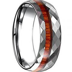 COI Tungsten Carbide Faceted Ring With Wood - TG4646AA