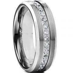 *COI Tungsten Carbide Cubic Zirconia Beveled Edges Ring-TG4664BB