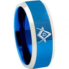 *COI Tungsten Carbide Masonic Beveled Edges Ring-TG4685BB