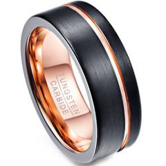 COI Tungsten Carbide Black Rose Offset Groove Ring-TG4691