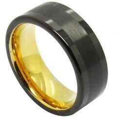 COI Tungsten Carbide Black Gold Tone Pipe Cut Ring-TG4706