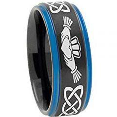 *COI Tungsten Carbide Black Blue Mo Anam Cara Ring-TG4722AA