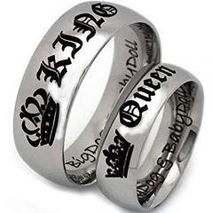 *COI Tungsten Carbide King Queen Crown Dome Court Ring-TG4724