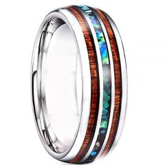 **COI Tungsten Carbide Wood & Abalone Shell Dome Court Ring-TG4727