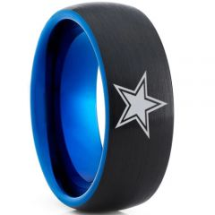 COI Tungsten Carbide Black Blue Dome Court Star Ring - TG4733