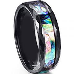 COI Tungsten Carbide Faceted Abalone Shell Ring - TG4734