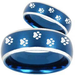 COI Tungsten Carbide Paws Print Beveled Edges Ring-TG4748B