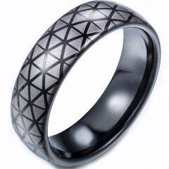 COI Tungsten Carbide Black Silver Hexagon Pattern Dome Court Ring-TG5248